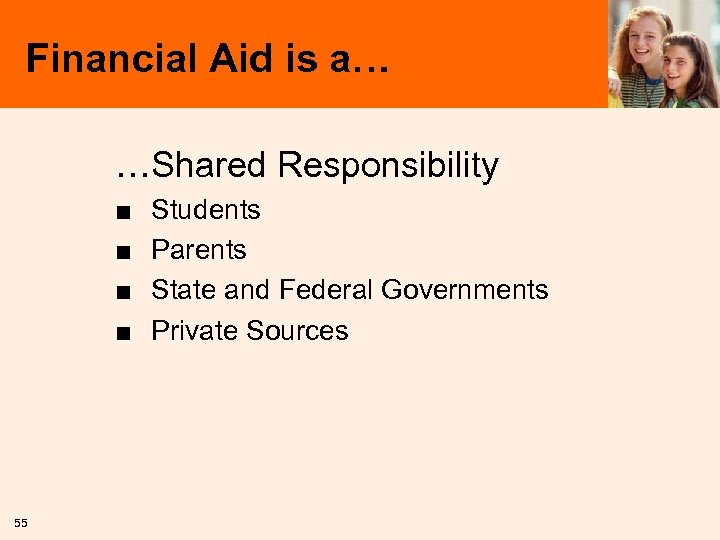 Financial Aid is a… …Shared Responsibility ■ ■ 55 Students Parents State and Federal