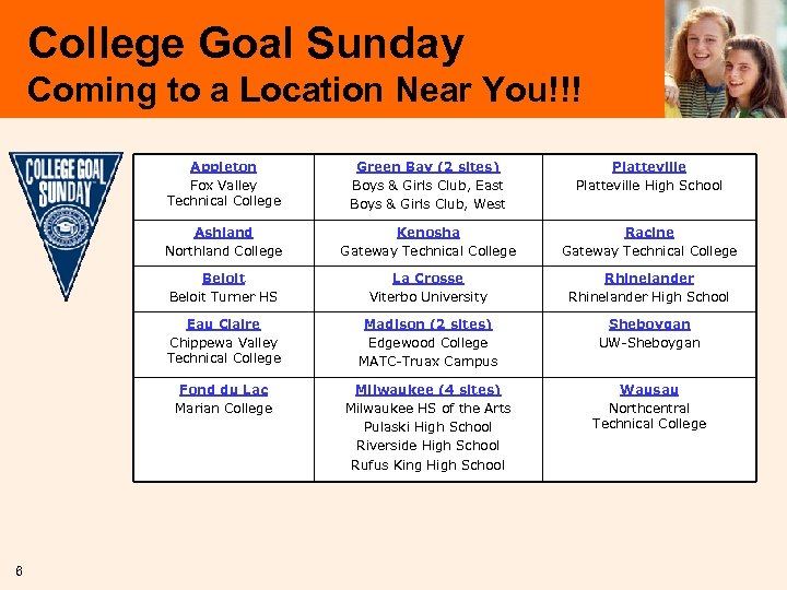College Goal Sunday Coming to a Location Near You!!! Appleton Fox Valley Technical College