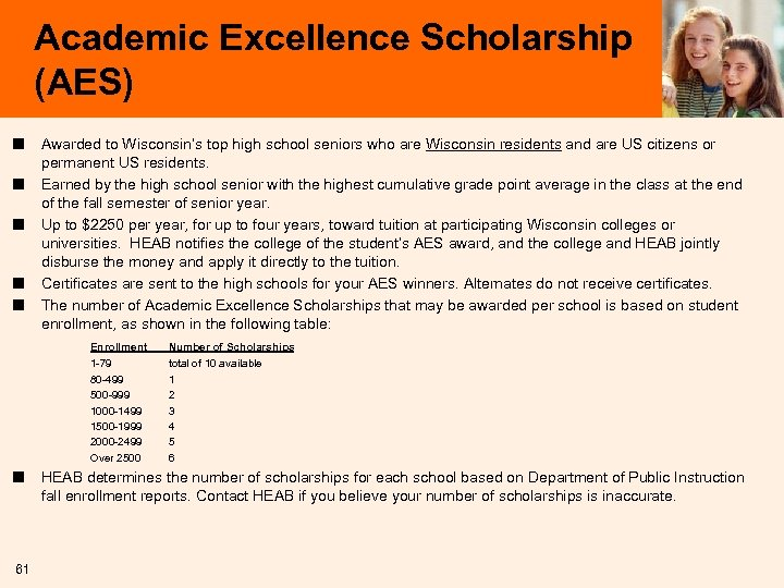 Academic Excellence Scholarship (AES) ■ ■ ■ Awarded to Wisconsin's top high school seniors
