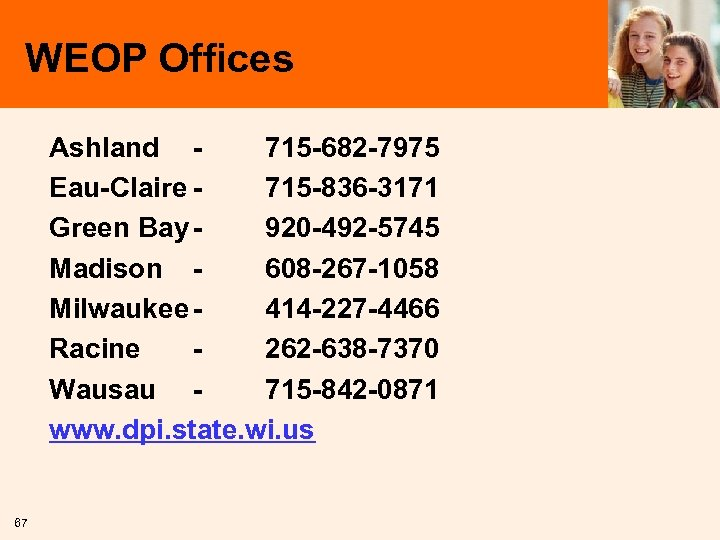 WEOP Offices Ashland 715 -682 -7975 Eau-Claire 715 -836 -3171 Green Bay 920 -492