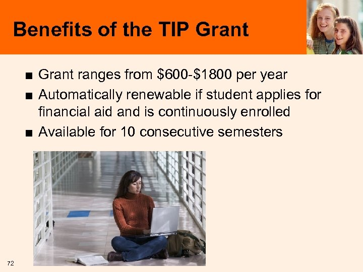 Benefits of the TIP Grant ■ Grant ranges from $600 -$1800 per year ■