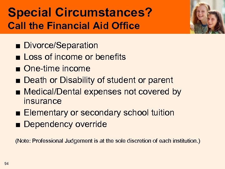 Special Circumstances? Call the Financial Aid Office ■ ■ ■ Divorce/Separation Loss of income