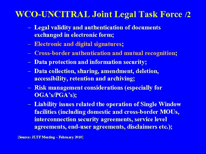 WCO-UNCITRAL Joint Legal Task Force /2 – Legal validity and authentication of documents exchanged