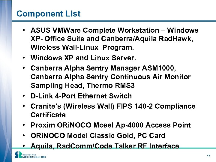 Component List • ASUS VMWare Complete Workstation – Windows XP- Office Suite and Canberra/Aquila