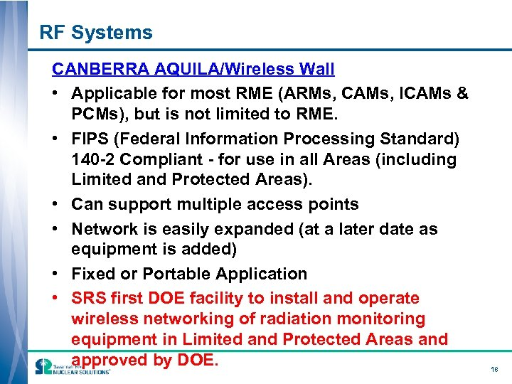 RF Systems CANBERRA AQUILA/Wireless Wall • Applicable for most RME (ARMs, CAMs, ICAMs &
