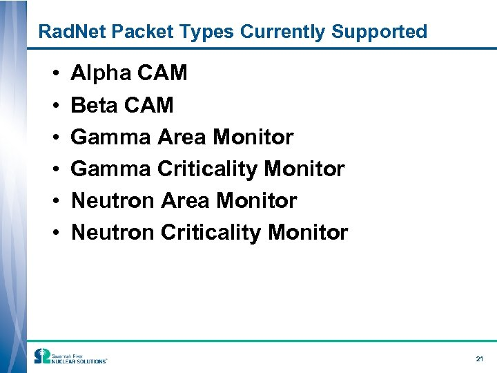 Rad. Net Packet Types Currently Supported • • • Alpha CAM Beta CAM Gamma