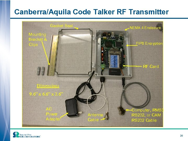 Canberra/Aquila Code Talker RF Transmitter Gasket Seal NEMA 4 Enclosure Mounting Bracket & Clips