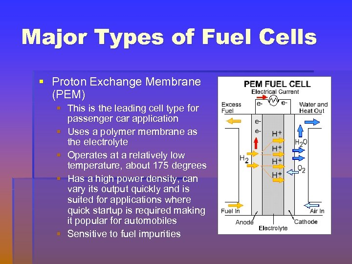 Major Types of Fuel Cells § Proton Exchange Membrane (PEM) § This is the