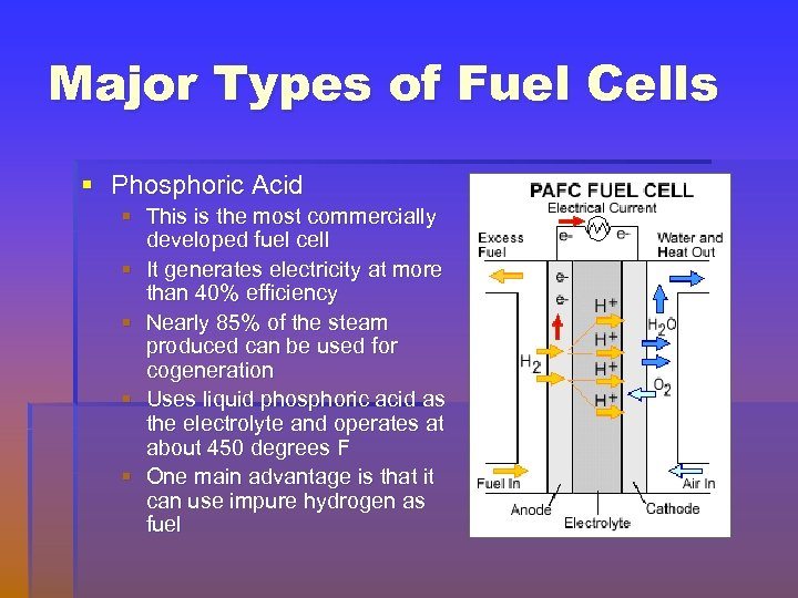 Major Types of Fuel Cells § Phosphoric Acid § This is the most commercially