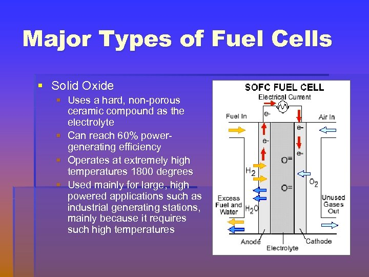 Major Types of Fuel Cells § Solid Oxide § Uses a hard, non-porous ceramic