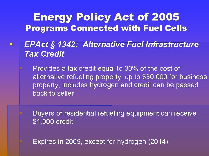 Energy Policy Act of 2005 Programs Connected with Fuel Cells § EPAct § 1342: