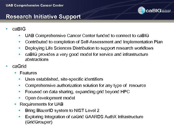 UAB Comprehensive Cancer Center Research Initiative Support • ca. BIG • • UAB Comprehensive