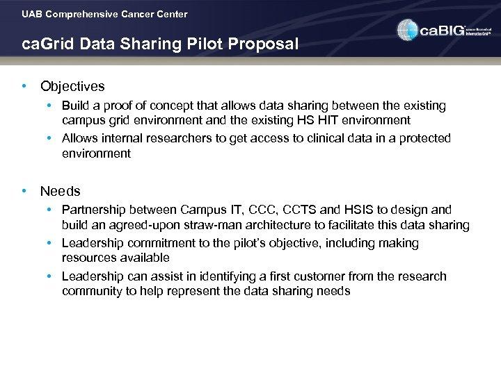 UAB Comprehensive Cancer Center ca. Grid Data Sharing Pilot Proposal • Objectives • Build