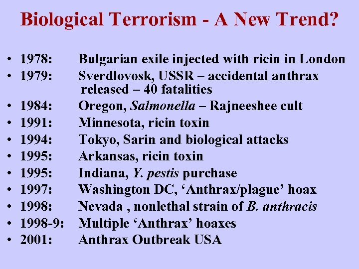 Biological Terrorism - A New Trend? • 1978: • 1979: • • • 1984: