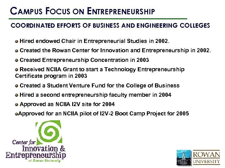 CAMPUS FOCUS ON ENTREPRENEURSHIP COORDINATED EFFORTS OF BUSINESS AND ENGINEERING COLLEGES Hired endowed Chair