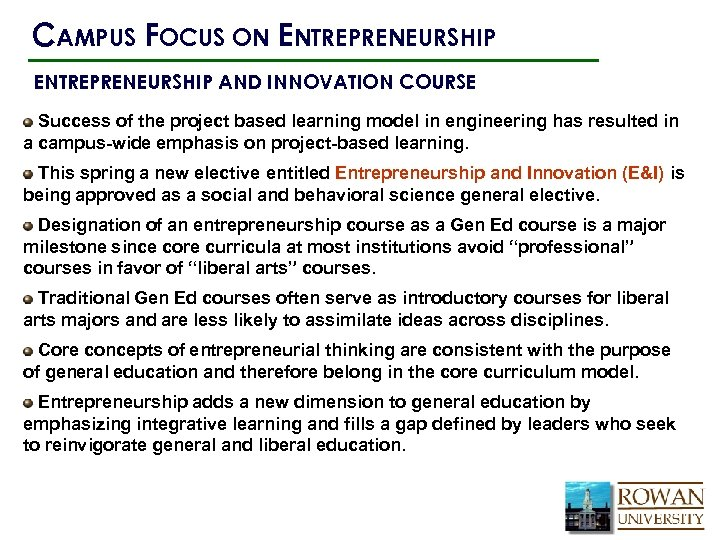 CAMPUS FOCUS ON ENTREPRENEURSHIP AND INNOVATION COURSE Success of the project based learning model