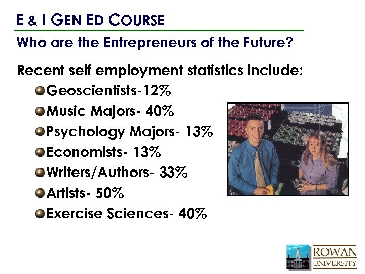 E & I GEN ED COURSE Who are the Entrepreneurs of the Future? Recent