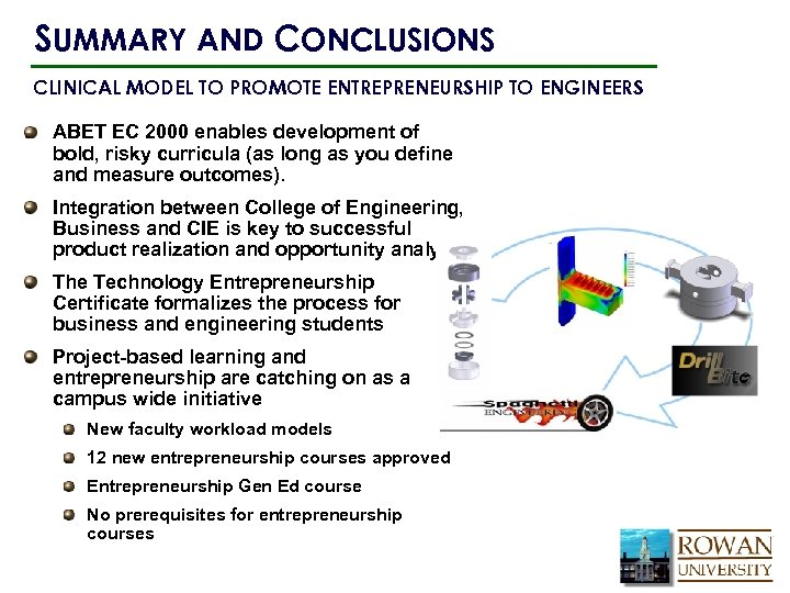 SUMMARY AND CONCLUSIONS CLINICAL MODEL TO PROMOTE ENTREPRENEURSHIP TO ENGINEERS ABET EC 2000 enables
