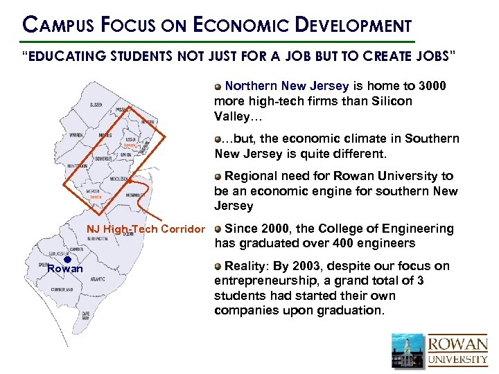 "CAMPUS FOCUS ON ECONOMIC DEVELOPMENT ""EDUCATING STUDENTS NOT JUST FOR A JOB BUT TO"