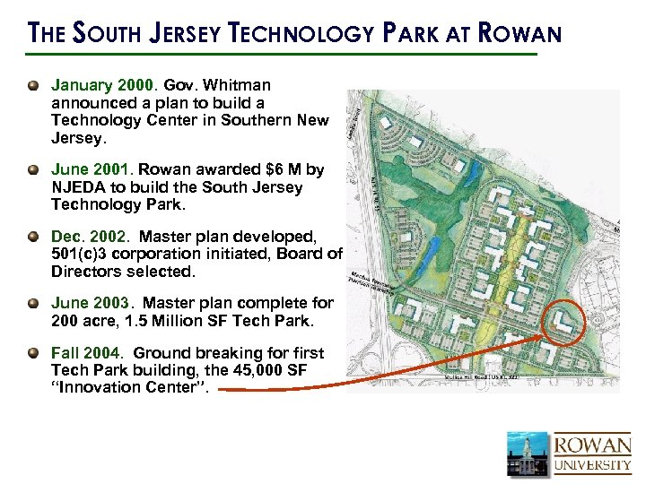 THE SOUTH JERSEY TECHNOLOGY PARK AT ROWAN January 2000. Gov. Whitman announced a plan