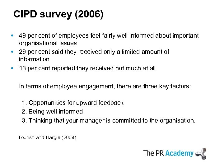CIPD survey (2006) 49 per cent of employees feel fairly well informed about important