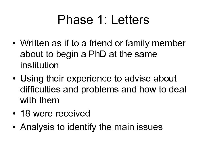 Phase 1: Letters • Written as if to a friend or family member about