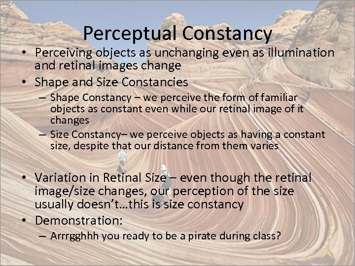 Perceptual Constancy • Perceiving objects as unchanging even as illumination and retinal images change