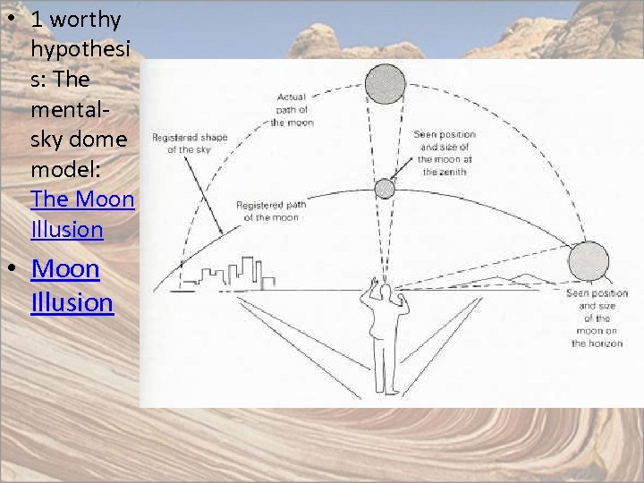 • 1 worthy hypothesi s: The mentalsky dome model: The Moon Illusion •