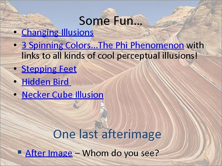 Some Fun… • Changing Illusions • 3 Spinning Colors. . . The Phi Phenomenon