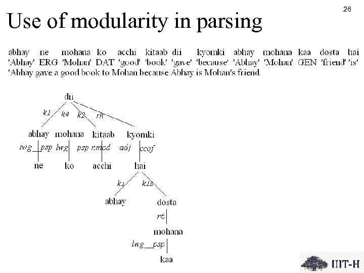 Use of modularity in parsing 26