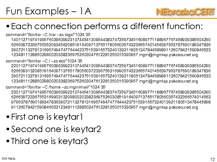 "Fun Examples – 1 A § Each connection performs a different function: command=""/bin/tar –C"