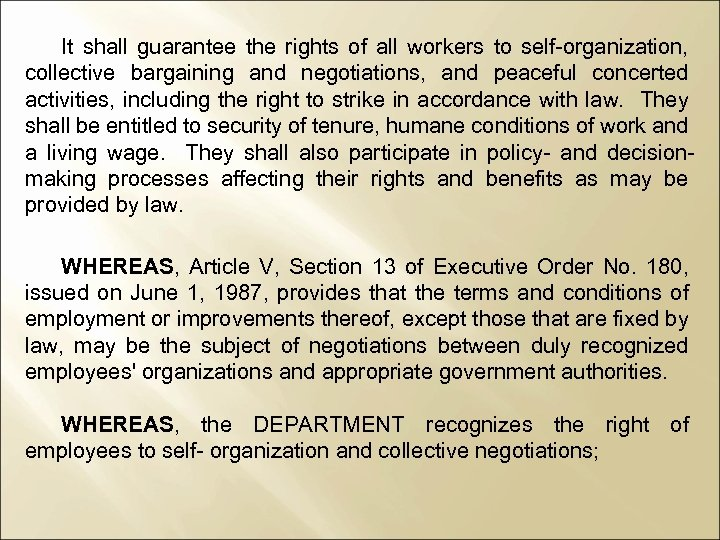 It shall guarantee the rights of all workers to self-organization, collective bargaining and negotiations,