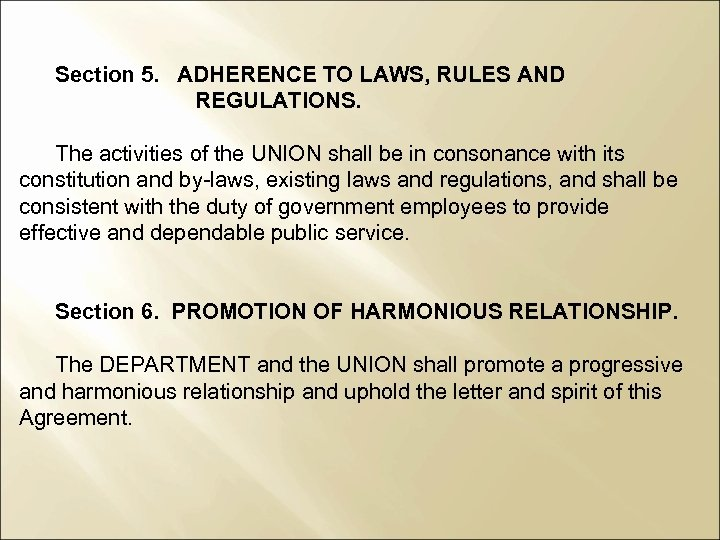 Section 5. ADHERENCE TO LAWS, RULES AND REGULATIONS. The activities of the UNION shall