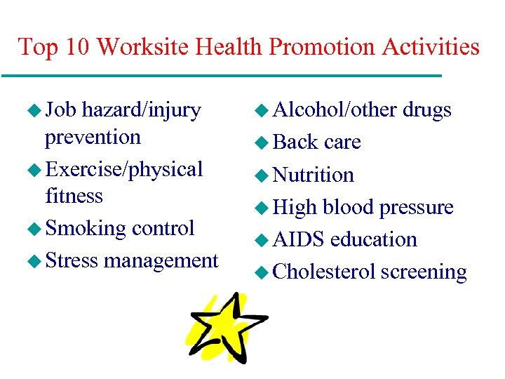 Top 10 Worksite Health Promotion Activities u Job hazard/injury prevention u Exercise/physical fitness u
