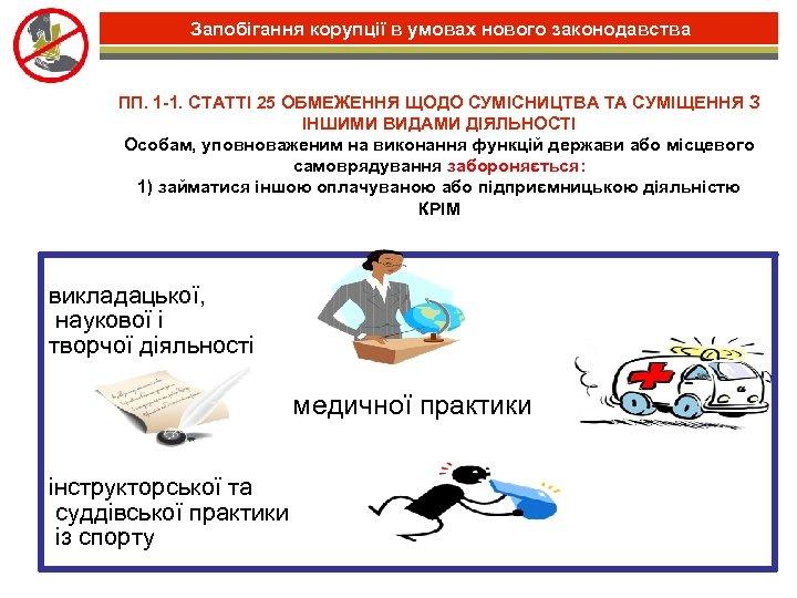 Запобігання корупції в умовах нового законодавства ПП. 1 -1. СТАТТІ 25 ОБМЕЖЕННЯ ЩОДО СУМІСНИЦТВА