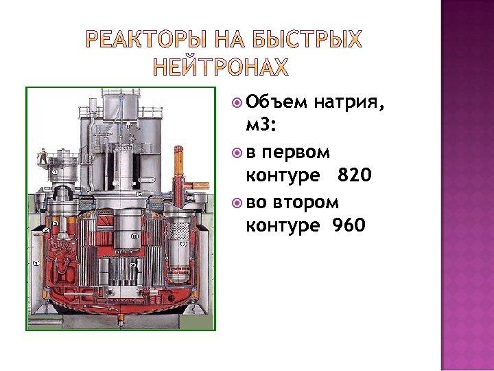 Объем натрия, м 3: в первом контуре 820 во втором контуре 960