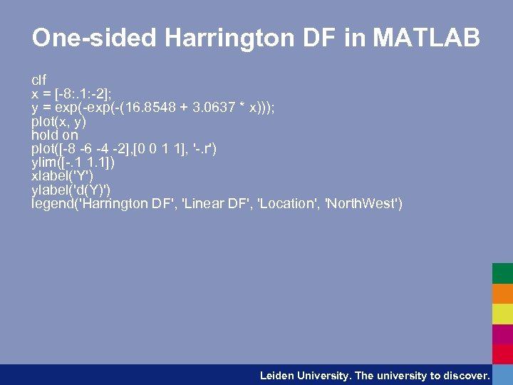 One-sided Harrington DF in MATLAB clf x = [-8: . 1: -2]; y =