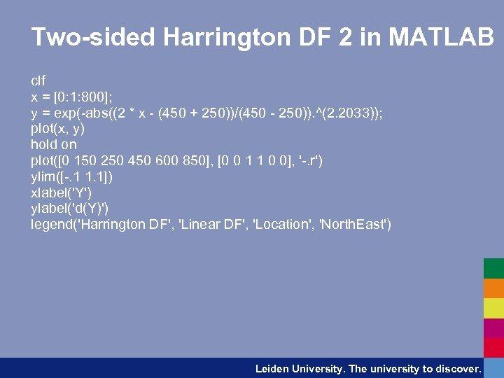 Two-sided Harrington DF 2 in MATLAB clf x = [0: 1: 800]; y =