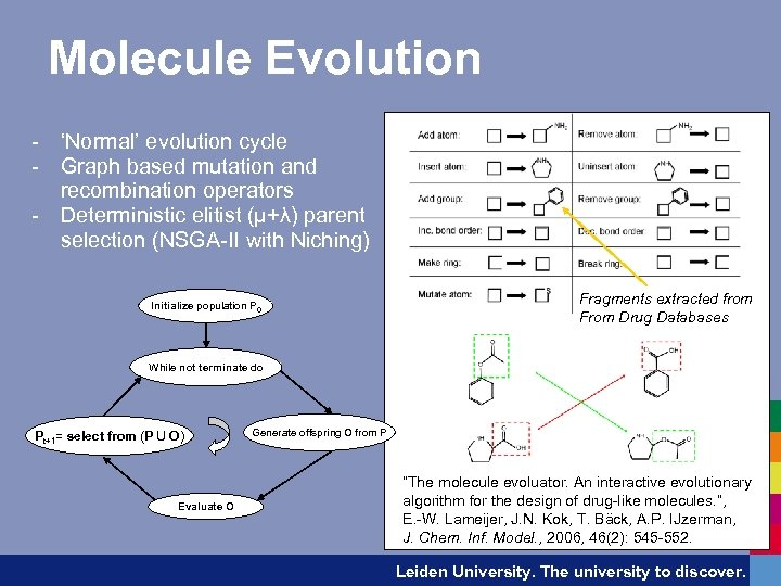 Molecule Evolution - 'Normal' evolution cycle - Graph based mutation and recombination operators -