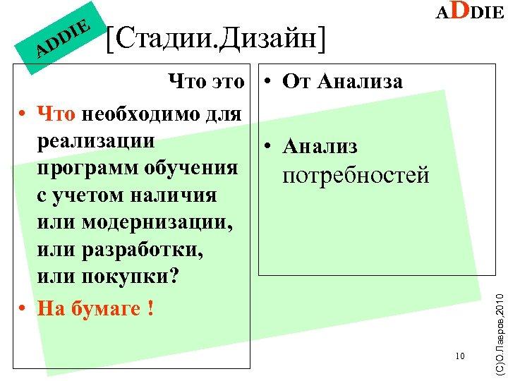 A [Стадии. Дизайн] Что это • От Анализа • Что необходимо для реализации •