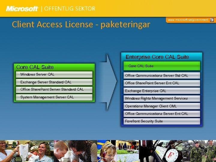 Client Access License - paketeringar www. microsoft. se/government Enterprise Core CAL Suite Windows Server