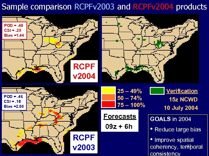 Sample comparison RCPFv 2003 and RCPFv 2004 products POD =. 49 CSI =. 25
