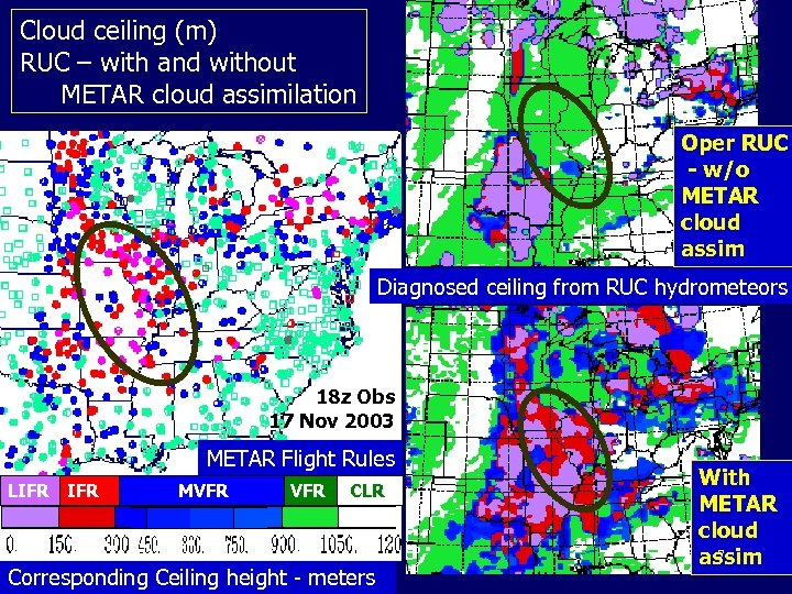 Cloud ceiling (m) RUC – with and without METAR cloud assimilation Oper RUC -