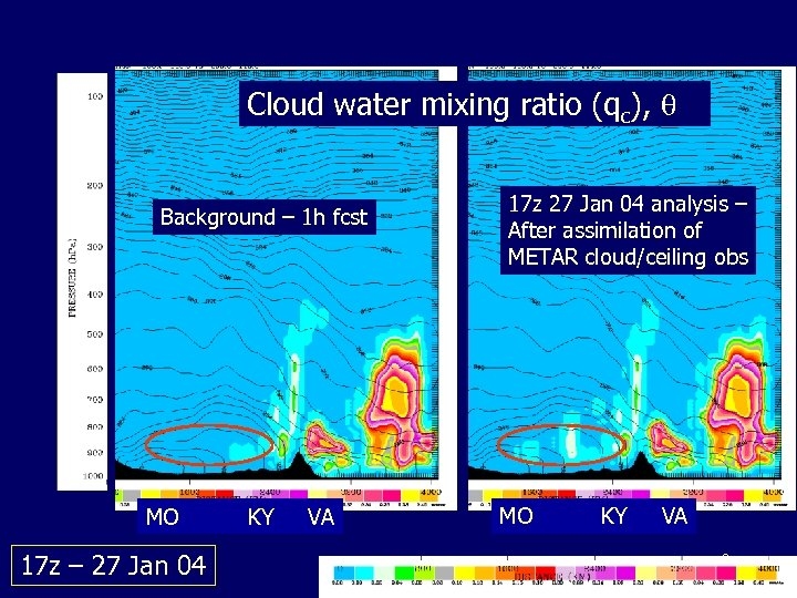 Cloud water mixing ratio (qc), Background – 1 h fcst MO 17 z –
