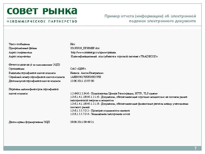 Пример отчета (информации) об электронной подписи электронного документа Текст сообщения Прикрепленные файлы Адрес отправителя