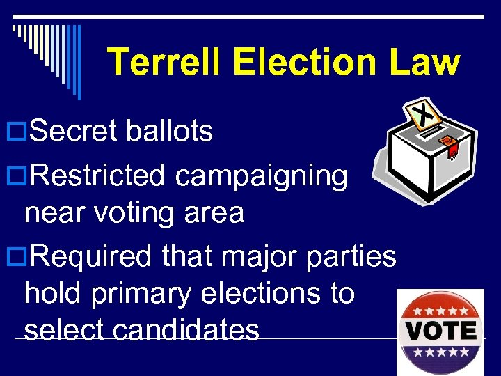 Terrell Election Law o. Secret ballots o. Restricted campaigning near voting area o. Required