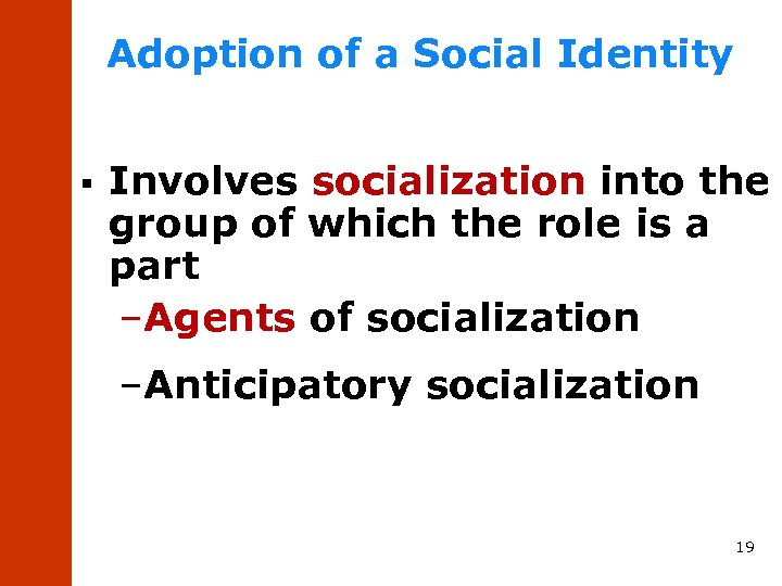 Adoption of a Social Identity § Involves socialization into the group of which the