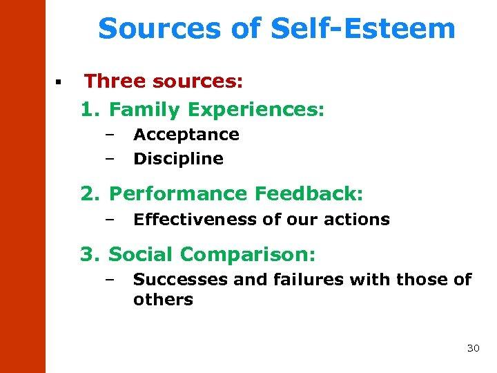 Sources of Self-Esteem § Three sources: 1. Family Experiences: – – Acceptance Discipline 2.