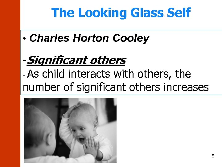 The Looking Glass Self • Charles Horton Cooley -Significant others - As child interacts