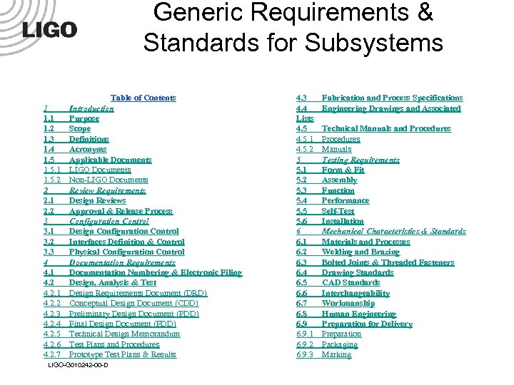 Generic Requirements & Standards for Subsystems 1 1. 2 1. 3 1. 4 1.